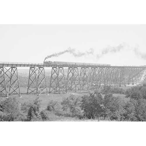 Steam Train passes over Valley Trestle Bridge (Paper Poster)
