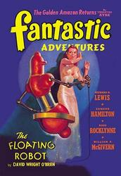Fantastic Adventures: Floating Robot and Woman (Fine Art Giclee)