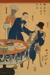 Banquet at a foreign mercantile house in Yokohama (Yokohama ijin sho?ka shuen no zu) (Paper Poster)