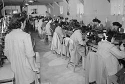 Category: Dropship Photographic, SKU #24208-6 C2436, Title:  Sumiko Shigematsu, foreman of power sewing machine girls, (Canvas Art)