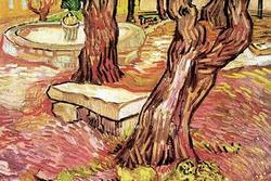 The Stone Bench in the Garden of Saint-Paul Hospital (Framed Poster)