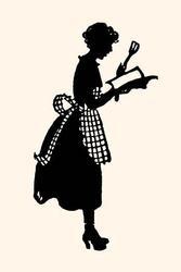 Homemaker reads a recipe book (Fine Art Giclee)