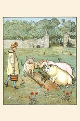 Pigs are fed in their trough (Canvas Art)