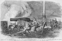 Grape Explosion from Fort Jackson creates havoc on Gunboat Iroquois (Paper Poster)