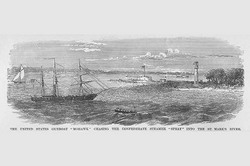 "Gunboat ""Mohawk"" Chases Confederate Steamer ""Spray"" (Fine Art Giclee)"