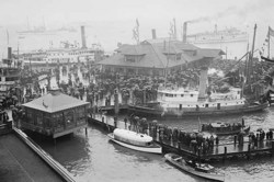 Hampton Roads Revels in the Return of the American Fleet (Framed Poster)