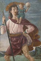 Saint Christopher & The Infant Christ Mural (Framed Poster)