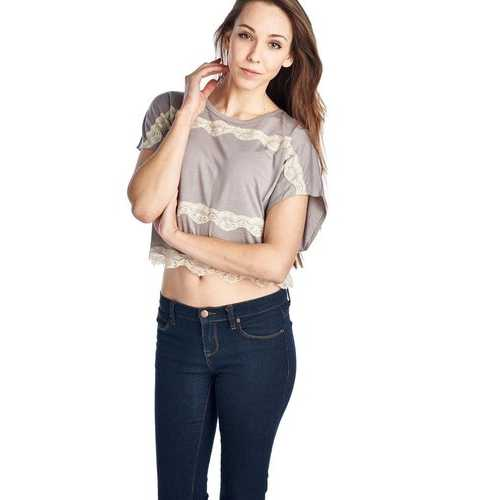 Women's Short Wing Keyhole Back Top with Lace Trim