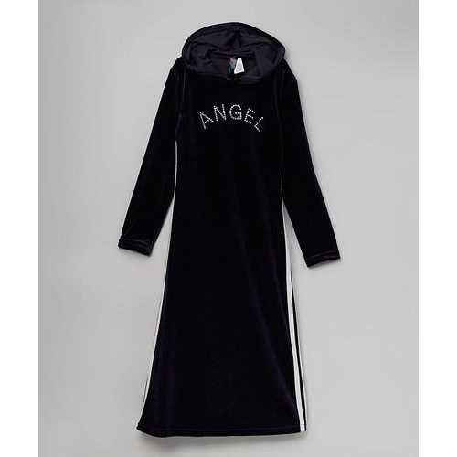 Girls Velour Hooded Long Dress