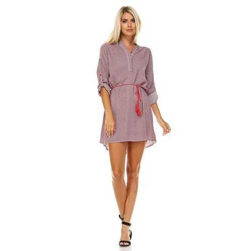 Women's Front Tassel Tie Button Up Dress