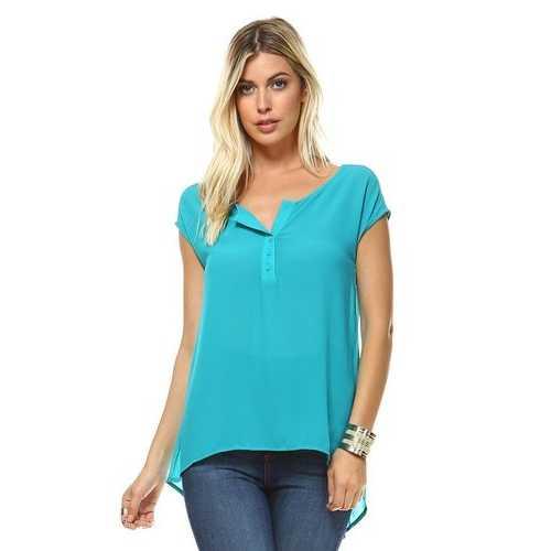 Women's Short Sleeve Button Up Hi-Low Top