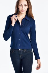 Women's Long Sleeve Button Down Top with Collar