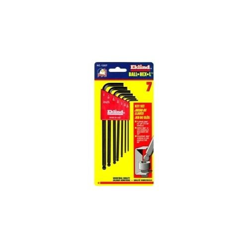 HEX KEY SET 7 PC BALL END SAE LNG 5/64-1/4IN.