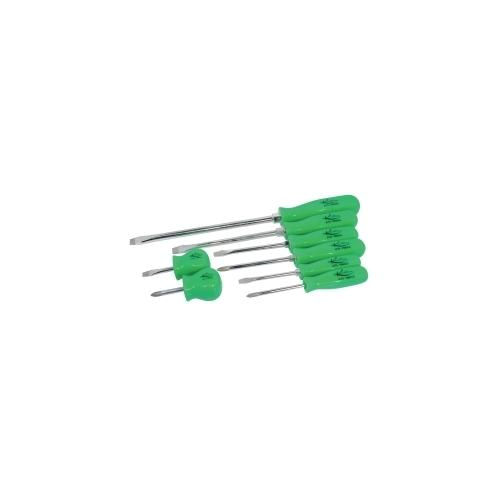 8-Piece Screwdriver Set with Green Square Handles