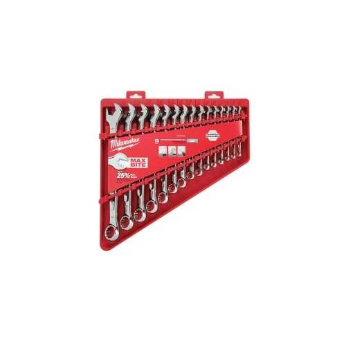 15-PC MAX BITE COMBI WRENCH SET - SAE, OPEN-END GRIP, I-BEAM HANDLE