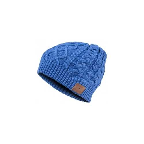 BLUETOOTH CABLE KNIT BEANIE, BLUE