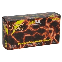 Orange Lightning Medium Orange Nitrile Gloves