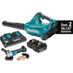 Category: Dropship Tools And Hardware, SKU #MAKXBU02PTX1, Title: 18V X2 (36V) LXT Brushless Cordless Blower Kit (5.0 Ah) and Brushless Angle Grinder