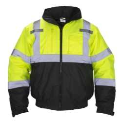 Class-3 Hooded Reflective Yellow Bomber Jacket, Large