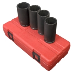 "4PC 1/2"" DR 12 POINT SPINDLE NUT SOCKET SET"