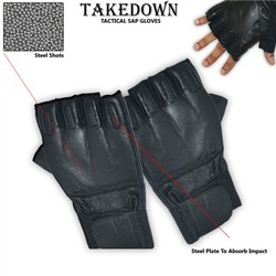 Category: Dropship Tactical Gear, SKU #SGH202XL, Title: Real Leather Fingerless Sap Gloves SGH202XL