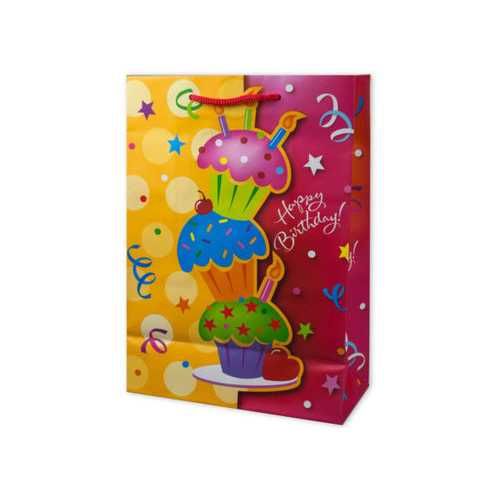 Medium Happy Birthday Glitter Giftbag ( Case of 72 )