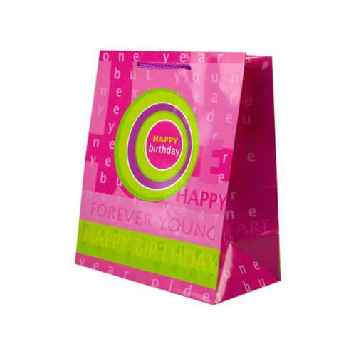 Pink and Green Birthday Medium Gift Bag ( Case of 24 )