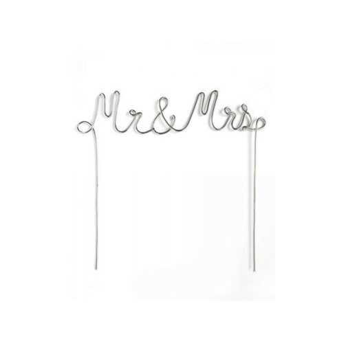 Silver Mr & Mrs Cake Topper ( Case of 16 )
