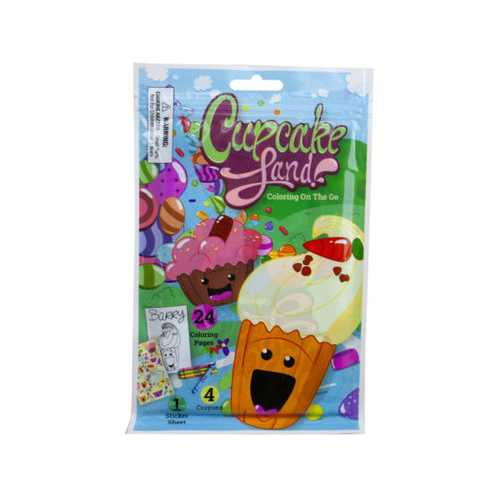 Cupcake Land 24 Page Coloring Pouch with Crayons and Stickers ( Case of 24 )