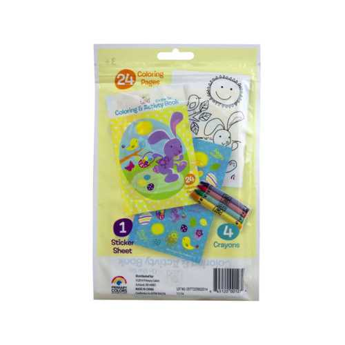 spring into easter 24 page coloring pouch with crayons and s ( Case of 72 )