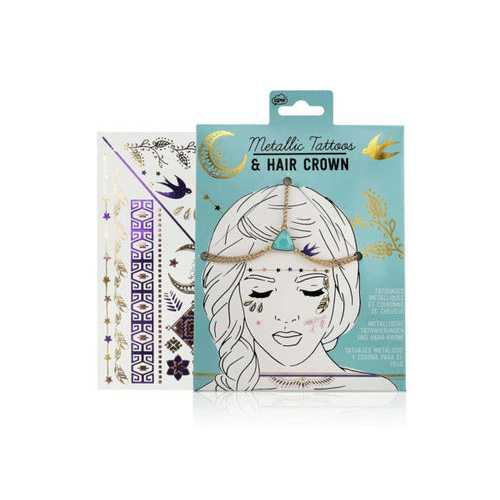 Metallic Tattoos and Hair Crown ( Case of 72 )