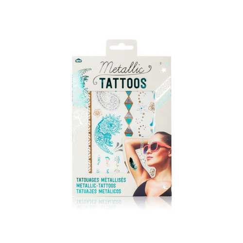 Metallic Tattoos in Turquoise And Silver ( Case of 72 )
