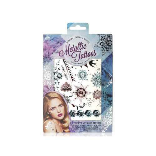Metallic Tattoos in Floral Design ( Case of 24 )