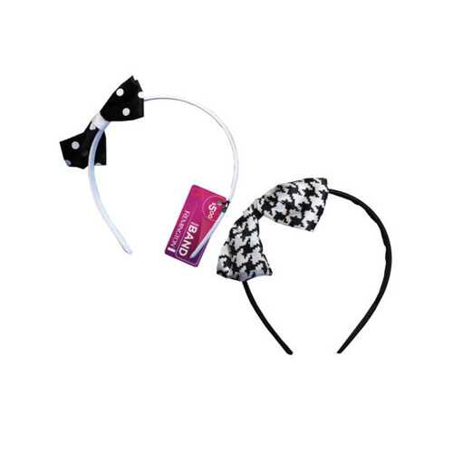 1 Count Polka Dot Bow Head Band in Assorted Colors ( Case of 36 )