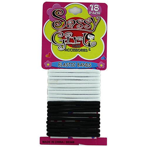 Black & White Hair Bands Set ( Case of 72 )