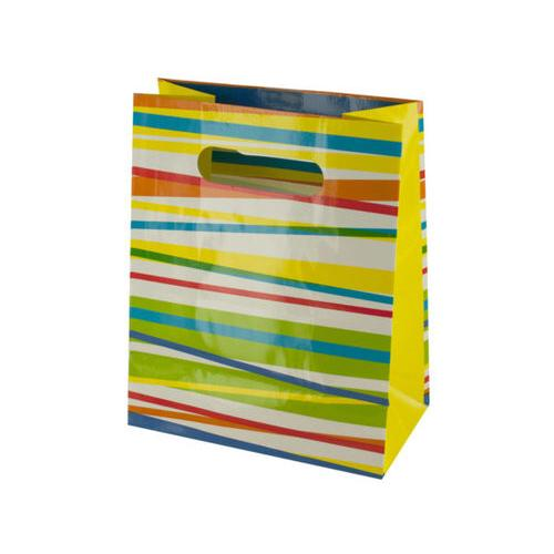 Multi-Color Stripes Gift Bag ( Case of 36 )