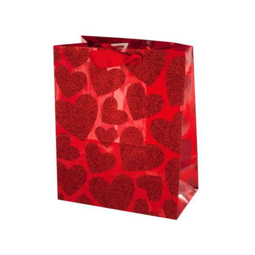 Small Red Glitter Hearts Gift Bag ( Case of 144 )