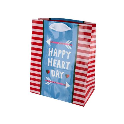 Happy Heart Day Striped Gift Bag ( Case of 36 )