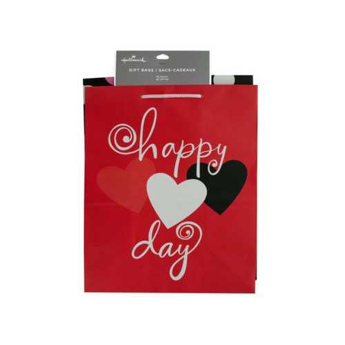 Medium Hearts & Dots Valentine Gift Bag Set ( Case of 12 )