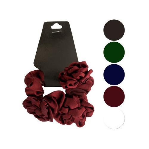 Chiffon Hair Twister with Ruffle Flower Accents ( Case of 72 )