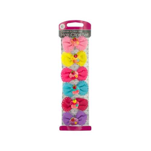 Cupcake & Fabric Bow Hair Clips Set ( Case of 24 )