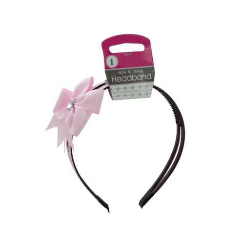 Alice Headband with Bow & Jewel Accent ( Case of 36 )