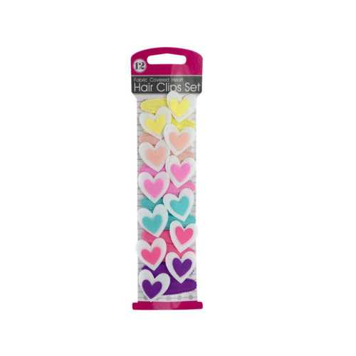 Fabric Covered Heart Hair Clips Set ( Case of 24 )