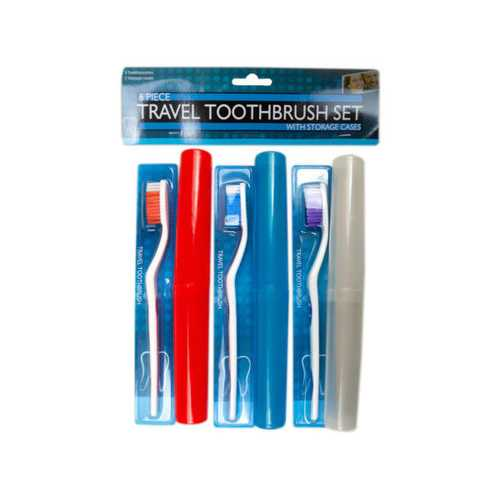 6 Piece Travel Toothbrush Set with Cases ( Case of 18 )