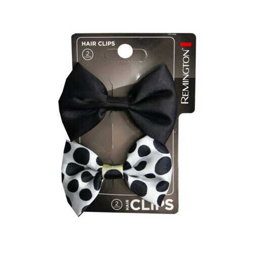 2 Count Black and Polka Dot Bow Hair Clips ( Case of 72 )