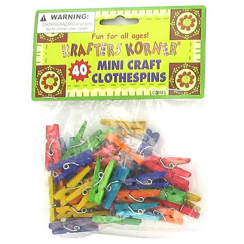 Miniature Colored Craft Clothespins ( Case of 96 )