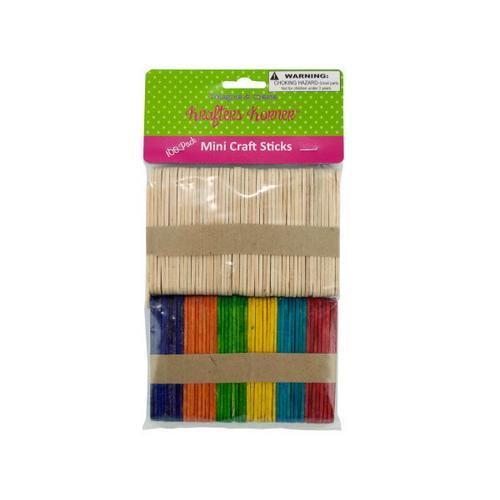 Multi-Colored & Natural Mini Craft Sticks ( Case of 100 )