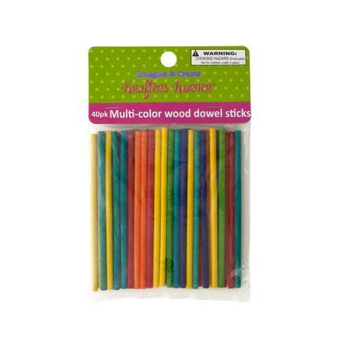Multi-Color Wood Dowel Sticks ( Case of 12 )
