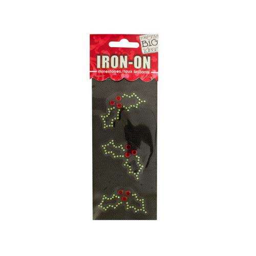 Holly Rhinestone Iron-On Transfer ( Case of 24 )