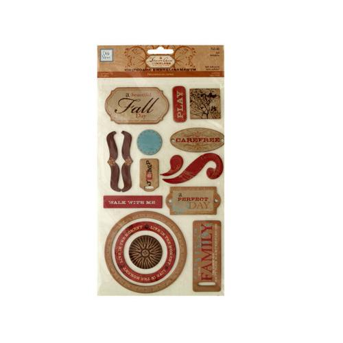 Fall Self-Adhesive Chipboard Embellishments ( Case of 48 )